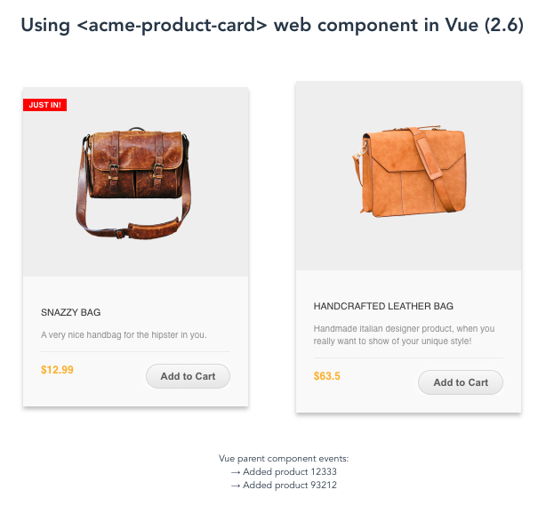 Screenshot of vue-acme-product-card