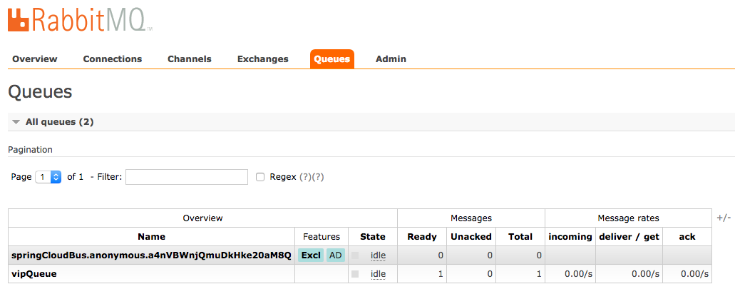 rabbitmq with 1 message in queue